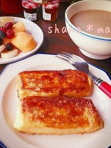 カリッ♪ほわっ♪キャラメリゼフレンチトースト♪ French Toast, Bread, Breakfast, Recipes, Food, Sweets, Morning Coffee, Gummi Candy, Brot