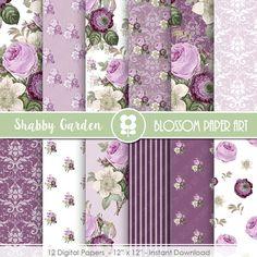 Purple Digital Paper, Vintage Roses Digital Papers, Purple Scrapbook Floral Digital Scrapbooking Pack - Decoupage 2018