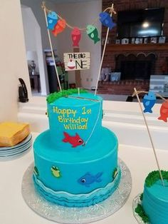 Fishing First Birthday Cake Topper, Gone Fishing Topper, The Big ONE Cake Topper by CurlyCuts on Etsy https://www.etsy.com/listing/535471711/fishing-first-birthday-cake-topper-gone
