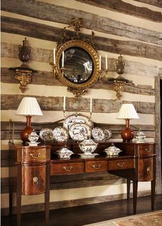 Elegant cabin living room with Federal style convex mirror, gilt brackets, sideboard, symmetrical lamps and candlesticks, beautiful china display - Suzanne Kasler in the Great Smoky Mountains - Architectural Digest - June 2009 - Model Home Interior Design Décor Antique, Antique Buffet, Antique Sideboard, Antique Furniture, Enchanted Home, Interior Garden, Kitchen Interior, Rustic Elegance, Timeless Elegance