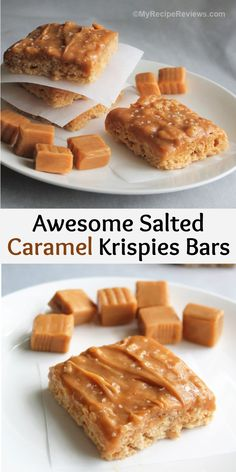 Chewy, sweet and salty, and gooey familiar Krispies bars with salted caramel. Additive and yummy!