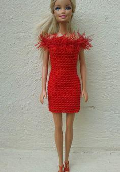 A simple crochet pattern using basic stitches for 3 styles of red dress    fluffy neckline     peplum dress     frill hem   I had an odd b...