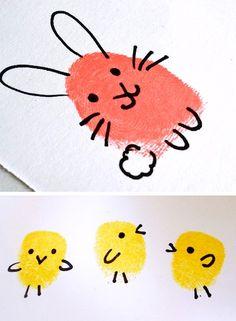 Chickabug bunny and chick fingerprint craft