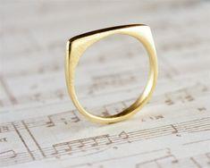 Gold Stacking Ring, Women Ring, Square Ring, Gold Statement Ring, Statement Jewelry, Square Stacking Ring,Unique Stack Ring, Gold Ring Women