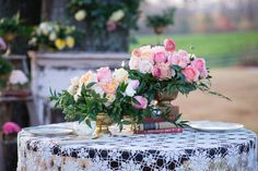 pastel and candy color floral arrangements at outdoor bridal session
