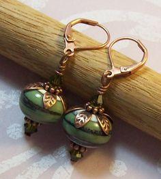 Artisan Lampwork Dangle Earrings  Swirls of by taraashleytreasures