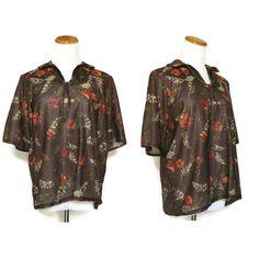 Boho Top / 70s Shirt / Hippie Blouse / Brown Floral Blouse / Lurex Top / Sparkle Top / Tie Front Shirt / Boho Blouse / Hippie Top by GoodLuxeVintage on Etsy