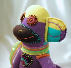 Handmade Multi~Color Sock Monkey Doll, Stuffed Animal Toy, Pantone 2014 Color of the Year Radiant Orchid, LILLYBETH