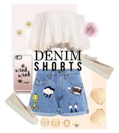 """""""The Final Cut: Denim Shorts"""" by larissemongaba ❤ liked on Polyvore featuring Paul & Joe Sister, LULUS, Kate Spade, Casetify, Ray-Ban, Brunello Cucinelli, Accessorize, jeanshorts, denimshorts and cutoffs"""
