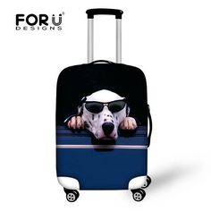 Fashion Travel Dachshund Wearing Glasses Luggage Suitcase Protector Washable Baggage Covers