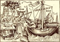 Circe and Ulysses, woodcut by Michael Wolgemut (possibly Albrecht Dürer), 1493, from Anton Koberger's The Nuremberg Chronicles