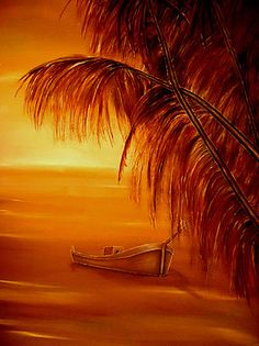Tropical, painting, wall,art,coastal,scene,orange,beautiful,images,sunset,sunrise,boat,palmtrees,home,office,decor,artwork,for,sale,nature,seascape,ocean,contemporary,modern,cool,awesome,nautical,marine,island,sea,water,wooden,gold,golden,fine,oil,items,ideas, fine art america