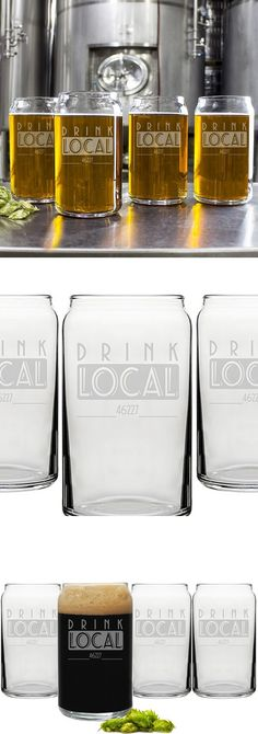 The bold 'Drink Local' wording says it all on this 4 piece 16 ounce beer can glassware set personalized with a single line of custom print for a name, zip code, state or anything up to a maximum of 15 characters. These dishwasher safe glasses are perfectly suite for daily use or as a unique personalized gift for the beer glass collector. This beer glass set can be ordered at http://myweddingreceptionideas.com/personalized-drink-local-beer-can-glassware-set.asp