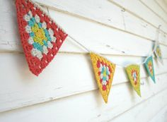 Crochet Garland - Triangle Crochet Bunting - Granny Square Flag Garland - Rainbow Colors - Wall Hanging