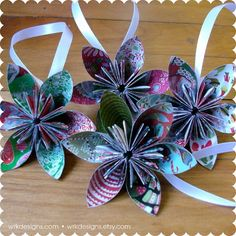 Christmas Fabric Recycled Ornaments  Paper Flower by #wrkdesigns