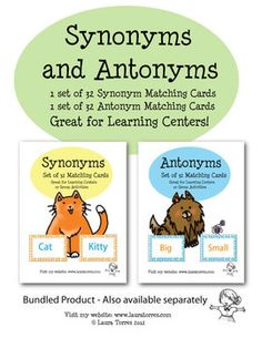 Synonyms and Antonyms Matching Cards Bundle. Great in an elementary literature class to teach about the Difference between synonyms and antonyms.
