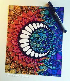 throwback to one of my favorite pieces i did with sharpie and prisma markers on bristol board! ☀️(available in a print, sticker, blanket, tapestry, tote bag, phone case and laptop case! link in my bio) ❤