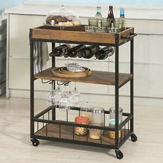 Haotian Bar Serving Cart Home Myra Rustic Mobile Kitchen Serving cart,Industrial Vintage Style Wood Metal Serving Trolley Food Trolley, Kitchen Trolley Cart, Bar Trolley, Serving Trolley, Drinks Trolley, Bar Carts, Vintage Wood, Vintage Kitchen, Vintage Style