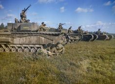 JUL 10 9 th Royal Tank Regiment – Death at Maltot Churchill tanks of A and B Squadrons, Battalion, Royal Tank Regiment, Brigade in line abreast wait to move off as squadron leaders and tank commanders discuss operations in the foreground. Churchill, Tank Warfare, Armored Fighting Vehicle, Ww2 Tanks, New Forest, Armored Vehicles, War Machine, Military History, Panzer