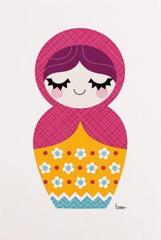 Matryoshka print by Little Beehive (via Etsy).