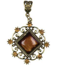 Jewelry Basics Metal Pendant 1/Pk-Antique Gold Diamond With/Cabochon