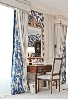 Patterned blue and white drapes hidden behind a heavy white drape layered in front. interior design ideas ~ home decor ~ window treatments ~ dream homes Design Hotel, House Design, Style Deco, Interior Decorating, Interior Design, Decorating Ideas, Curtains With Blinds, White Curtains, Drapery Panels