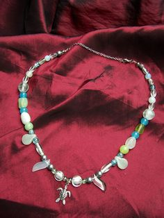 Under the Sea Handmade Necklace with Sea Turtle by ReprievesCorner, $19.99