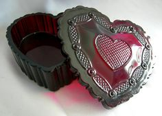 Avon 1876 Cape Cod Ruby Red Pressed Glass Heart by RetrofitGallery, $16.00