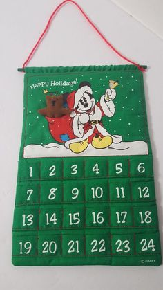 "Disney Mickey Mouse Santa Happy Holidays Cloth Advent Calendar Teddy Bear 12""x8"" #Disney Paid $1.00"