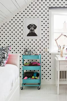 Cool kids' room with an Ikea Raskog cart and black and white polka dot walls Ikea Raskog, Raskog Cart, Girl Room, Girls Bedroom, Bedroom Decor, Decorating Bedrooms, Bedroom Small, Bedroom Shelves, Bedroom Neutral