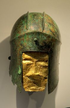 Among the most interesting discoveries in Aigai and Vergina were the graves of 20 warriors dating to the late Archaic period, between 580 and 460 BC.Some were buried in bronze helmets alongside iron swords and knives. Their eyes, mouths and chests were covered in gold foil richly decorated with drawings of lions and other animals symbolizing royal power.