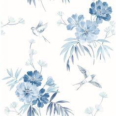 Blue Floral Wallpaper, Cream Wallpaper, Flower Wallpaper, Wallpaper Roll, Glitter Wallpaper, Wallpaper Samples, Pattern Wallpaper, Wallpaper Ideas, Iphone Background Wallpaper