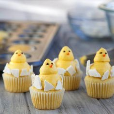 There's some major adorableness hatching in the kitchen … these fun and festive Baby Chick Cupcakes! Start with pre-made mini cupcakes. Pipe two dollops of McCormick® vanilla extract-flavored marshmallow crème on top of each other to form chicks. Use our Color from Nature™ Food Colors in Sunflower to create that beautiful yellow hue. Add broken pieces of white chocolate wafers to create egg shells. Peep, peep!