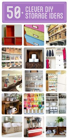 50+ Clever DIY Storage  Organization Ideas - Click to see them all! - Click image to find more DIY  Crafts Pinterest pins