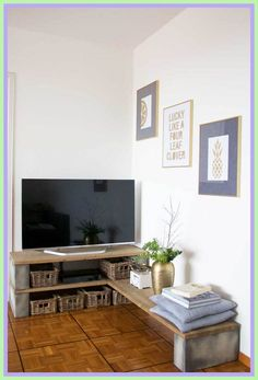 tv stand Low diy-#tv #stand #Low #diy Please Click Link To Find More Reference,,, ENJOY!! Tv Stand Decor, Diy Tv Stand, Tv Diy, Corner Tv, Corner Bench, Tv Stand Designs, Muebles Living, Block Table, Diy Design