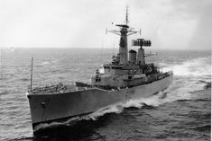 Photo of the recently commissioned Leander class Frigate , date stamped on rear of photo Dec 1963 (Commissioning Date 31 Oct Royal Navy Frigates, Gtr R35, Sail Boats, Diesel Locomotive, Navy Ships, Sailing Ships, Battle, British, Surface