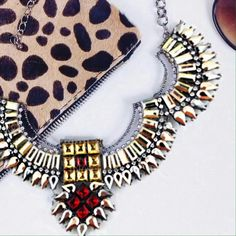 NEW Egyptian Crystal statement necklace Channel your inner Cleopatra with this fab Crystal and pearlescent rich statement necklace // brand new collar piece with multi color stones for an extra pop of peal and silver // geometric Crystal design makes a WOW statement from a mile away // lovely to dress up or down on top of a collared shirt or a strapless dress! Karis' Kloset Jewelry Necklaces