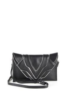 Elena Ghisellini - Selina Metallic-Trimmed Leather Crossbody Bag Black  Leather Crossbody Bag b13bdaae54d6a