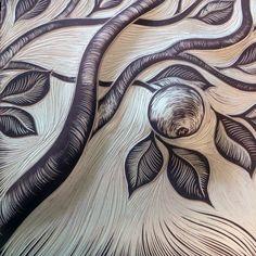 Apple carved from slip on a porcelain tile ~ sgraffito ~ from Natalie Blake Studios Lino Art, Ceramic Wall Art, Linoprint, Stamp Printing, Art Et Illustration, Sgraffito, Wood Engraving, Linocut Prints, Woodblock Print