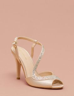 A jeweled asymmetrical strap curves elegantly across this satin peep toe pump. Peep Toe Pumps, Contemporary Fashion, Maid Of Honor, Perfect Match, Footwear, Fashion Outfits, Bridal, Sandals, Heels