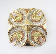 Trifari Pave Cross Runway Couture Brooch c. 1960s - Pins, Brooches