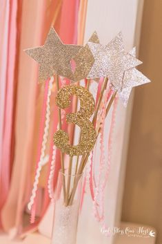 Sparkly wands at a pink and gold princess birthday party! See more party planning ideas at CatchMyParty.com!