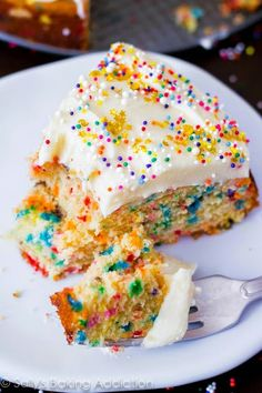 Fun 4th of July Treat!  Homemade Funfetti Cake - there should always be an excuse to make one. Plus, homemade funfetti cupcakes too! Recipe: http://sallysbakingaddiction.com/2013/03/19/easy-homemade-funfetti-cake/