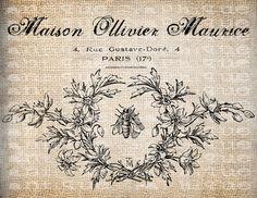 Antique Fancy Paris France Bee Wreath Illustration Digital Download for Tea Towels, Papercrafts, Transfer, Pillows, etc Burlap No 6361