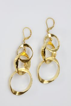 Gold Plated Sterling Silver Forged Triple Hoop Earrings