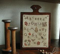 Primitive Cross Stitch Hornbook Sampler Pattern - Falling Leaves Sampler
