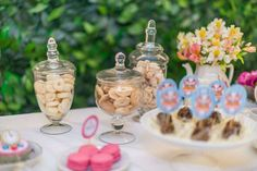 Alice in Wonderland 1st Birthday decorations - teapot floral arrangement.  Alice Tea  | CatchMyParty.com