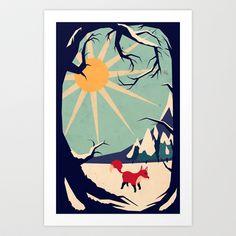 Fox roaming around II Art Print by Yetiland - $18.00