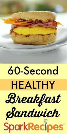 One Minute Microwave Breakfast Sandwich. I make this almost every morning! So much better than McDonald's! | via @SparkPeople #breakfast #brunch #sandwich