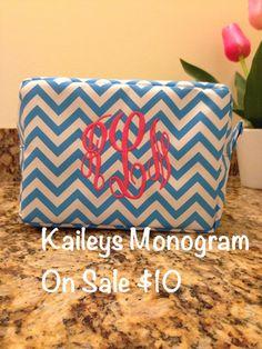 On Sale Chevron Cosmetic Bag Monogram on Etsy, $10.00